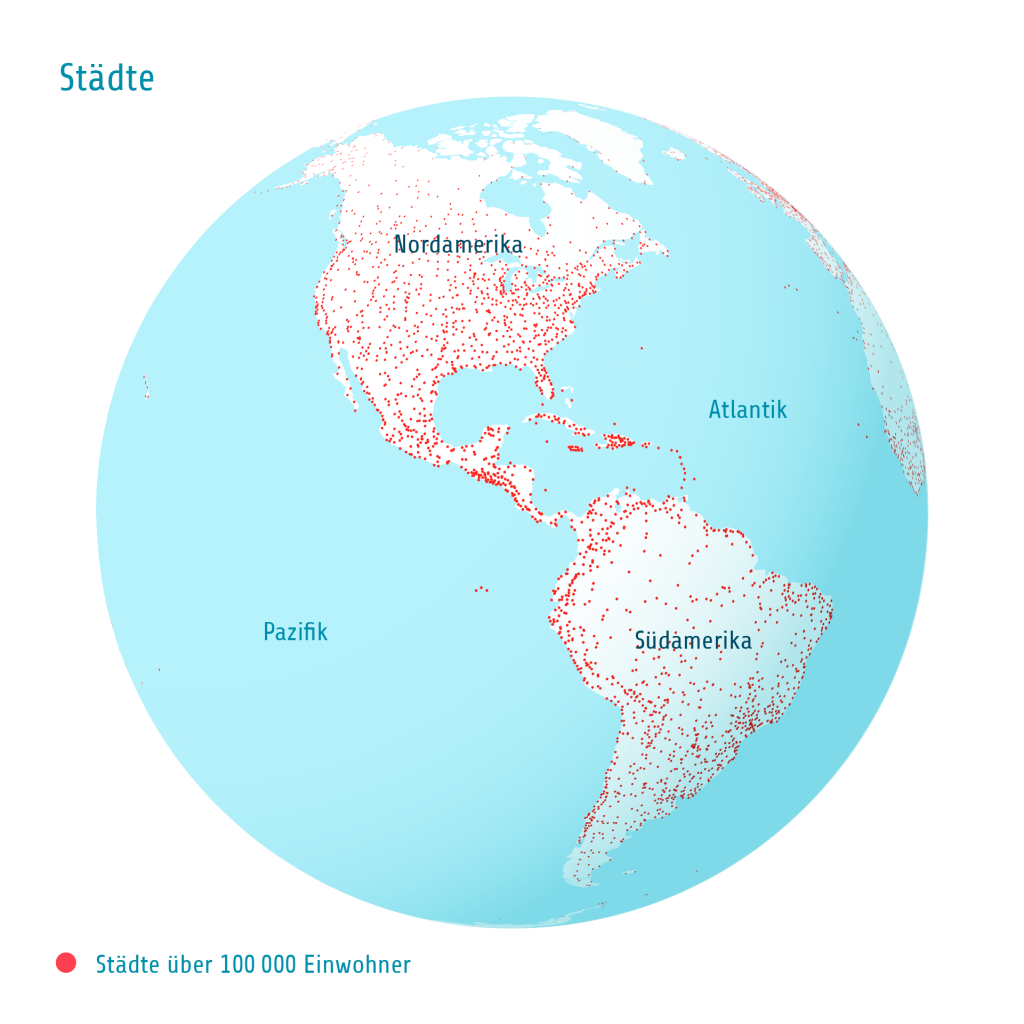 Städte Pazifik Atlantik